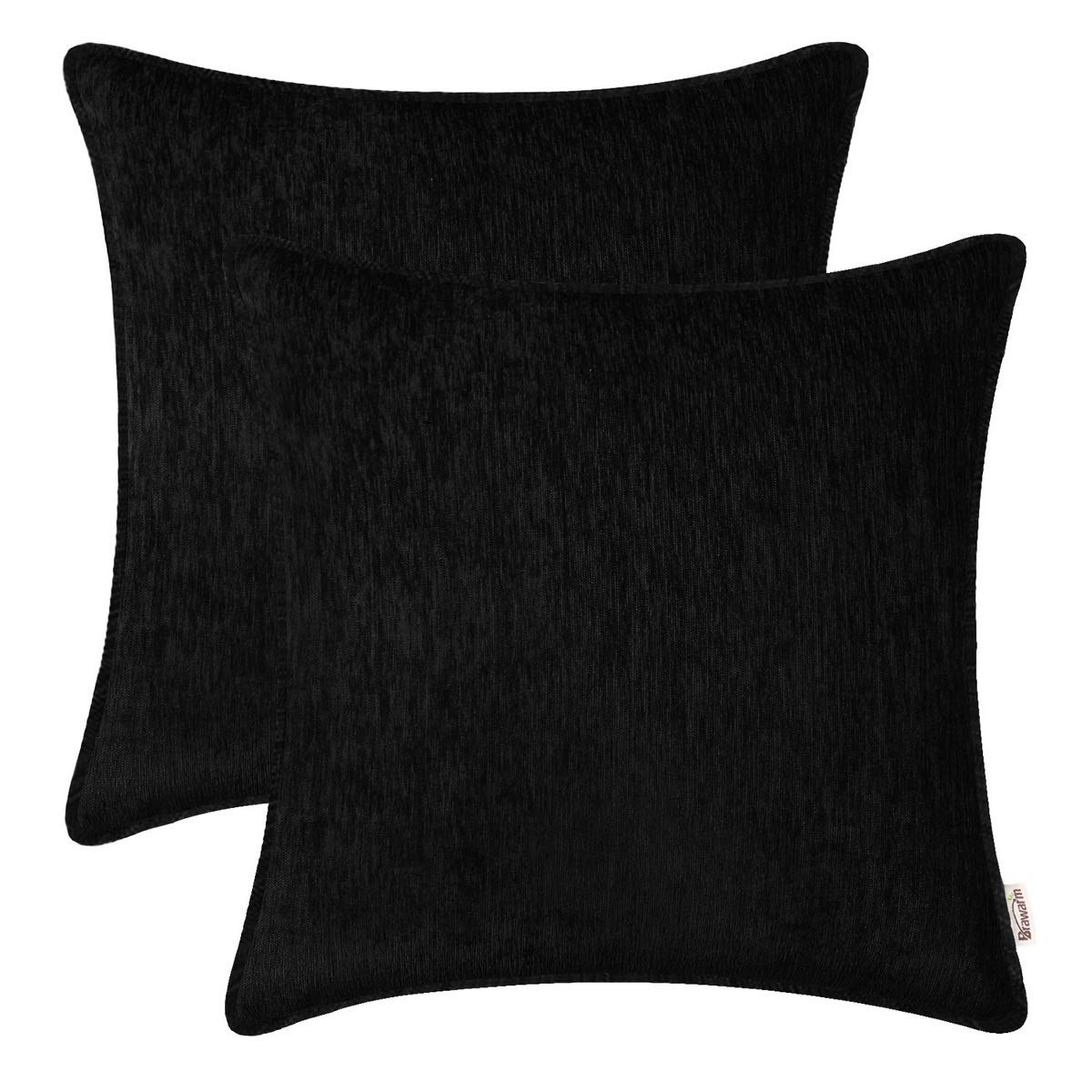 BRAWARM Pack of 2 Cozy Throw Pillow Covers Cases for Sofa Couch Home Decoration Solid Dyed Striped Soft Chenille with Piping 22 X 22 Inches Black
