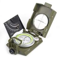 BIJIA Multifunctional Sighting Compass for Hiking,Metal Military Waterproof High Accuracy Lensatic Compass with Clinometer and Bubble Level for Hiking, Climbing, Boating, Exploring, Hunting, Geology
