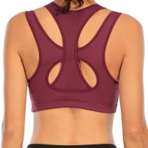 SEXYFROM Sports Bras for Women High Impact Racerback Sports Bras Workout Yoga Gym Fitness Activewear Bra