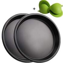Mokpi Nonstick Pizza Baking Pan Round Cake Pan Deep Dish Oven Safe Tray Bakeware (2, 9-Inch With Oven Mitts)