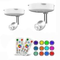 Wireless Spotlight, 2 Pack RGB Color Changing LED Accent Lights Puck Lights with Remote and AA Battary Powered Closet Light with Rotatable Lights Head Stick on Anywhere(Sliver)