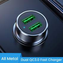Quick Charge 3.0 Car Charger, SOMOSTEL [Dual QC3.0 Port] 36W/6A [All Metal] Mini Fast Charge Car Adapter Compatible with iPhone 11/11 pro/XR/X/XS,Galaxy S20/S10/S9/S8 Plus Note 9/8,LG,Moto,iPad,Table