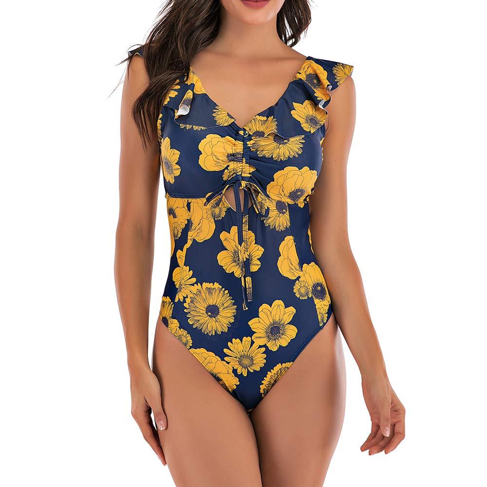 MoneRffi Womens Ruffle Flounce V Neck Lace Up One Piece Swimsuit High Rise Bathing Suit Swimswear