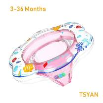 TSYAN Inflatable Baby Swimming Pool Float Ring with Safely Seat Double Airbag Swim Bath Water Toys Beach for Swim Training Kids Toddler Boys Girls Baby (Pink)