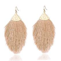 Bohemian Silky Thread Fringe Tassel Statement Dangle Earrings - Lightweight Feather Earrings Tassel Necklaces for Women