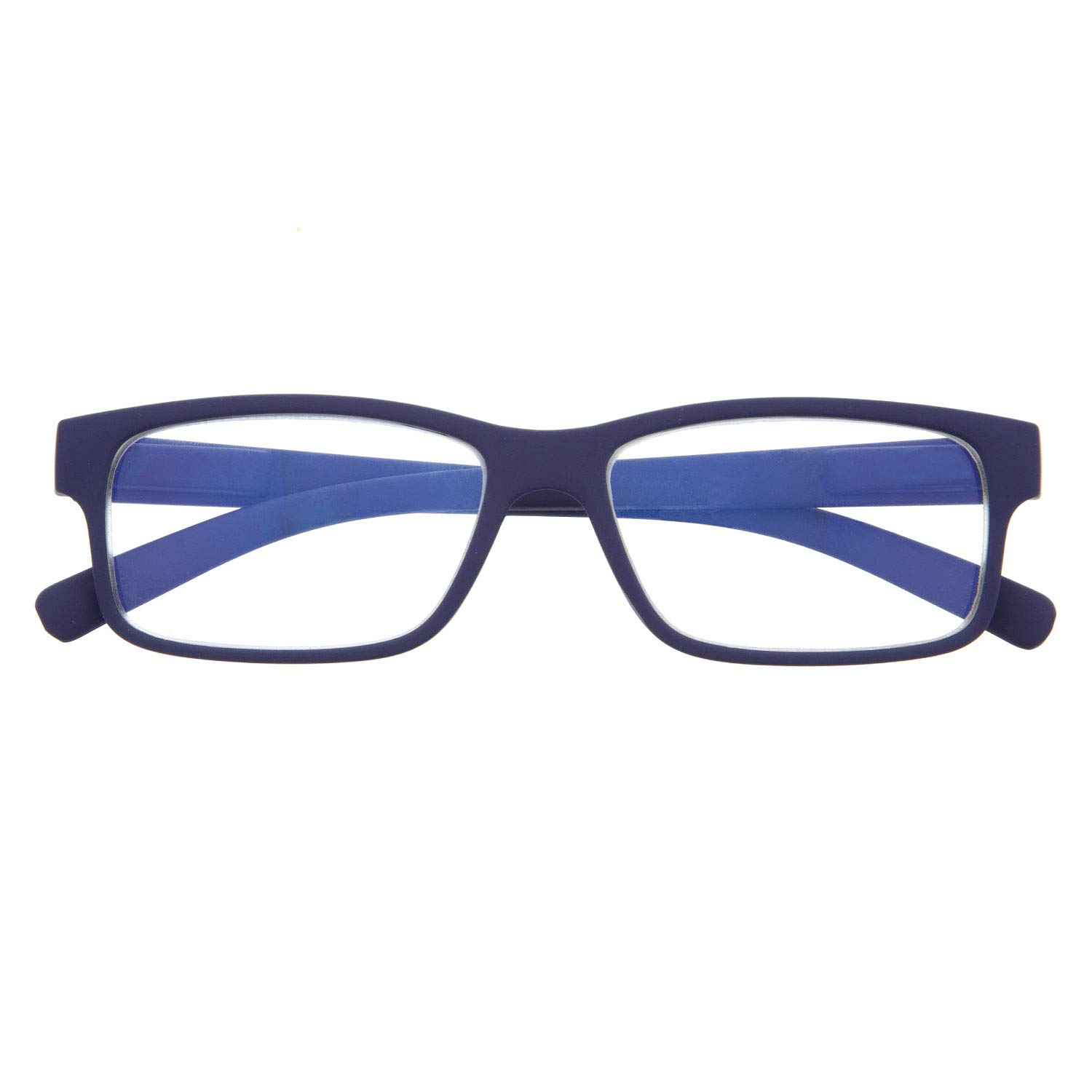 DIDINSKY Reading Glasses for Men and Women. Blue Light Blocking Computer Readers. Rubber Touch Flexible Temple and Anti Glare Glasses. Indigo 0.0 - THYSSEN