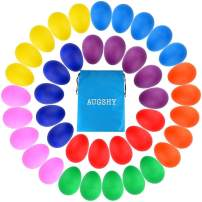 Augshy 40PCS Plastic Egg Shakers Percussion Musical Maracas Easter Eggs with a Storage Bag for Toys Music Learning DIY Painting(8 Different Colors)