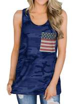 YEXIPO Womens American Flag Racerback Tank Tops 4th of July Shirts Patriotic Camo Summer Sleeveless Tops with Pocket