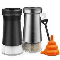 Salt and Pepper Shakers with Adjustable Pour Holes - Elegant Stainless Steel Salt and Pepper Dispenser - Perfect for Himalayan, Kosher, and Sea Salts