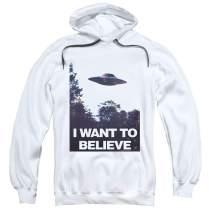 X-Files I Want to Believe Aliens UFO Pullover Hoodie Sweatshirt & Stickers