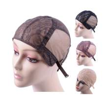 Double Lace Wig Cap for Making Wigs with Adjustable Straps on the Back Swiss Lace Hairnet (Dark Brown L)