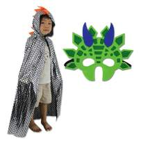 Vlish Silver Hooded Dragon Cloak – Dinosaur Cape and Green Mask Set | Halloween Cosplay Costume Dress Up | Dino Spike Fantasy Pretend Play Robe | Great for Christmas, Easter, Birthday Dragons Themed Party