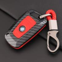 ontto Key Fob Cover Carbon Fiber Texture Car Key Shell Silicone case with Keychain Remote Key Protector Fit for BMW 1 3 5 7 Series X3 X4 X5 X6 (Red)