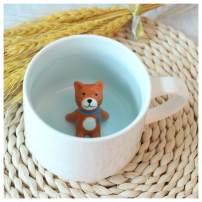 3D Cartoon Miniature Animal Coffee Cup Mug with Baby Cat Inside - Animal Lovers Tea Mugs for Women Girls(Cat)