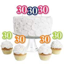 30th Birthday - Cheerful Happy Birthday - Dessert Cupcake Toppers - Colorful Thirtieth Birthday Party Clear Treat Picks - Set of 24
