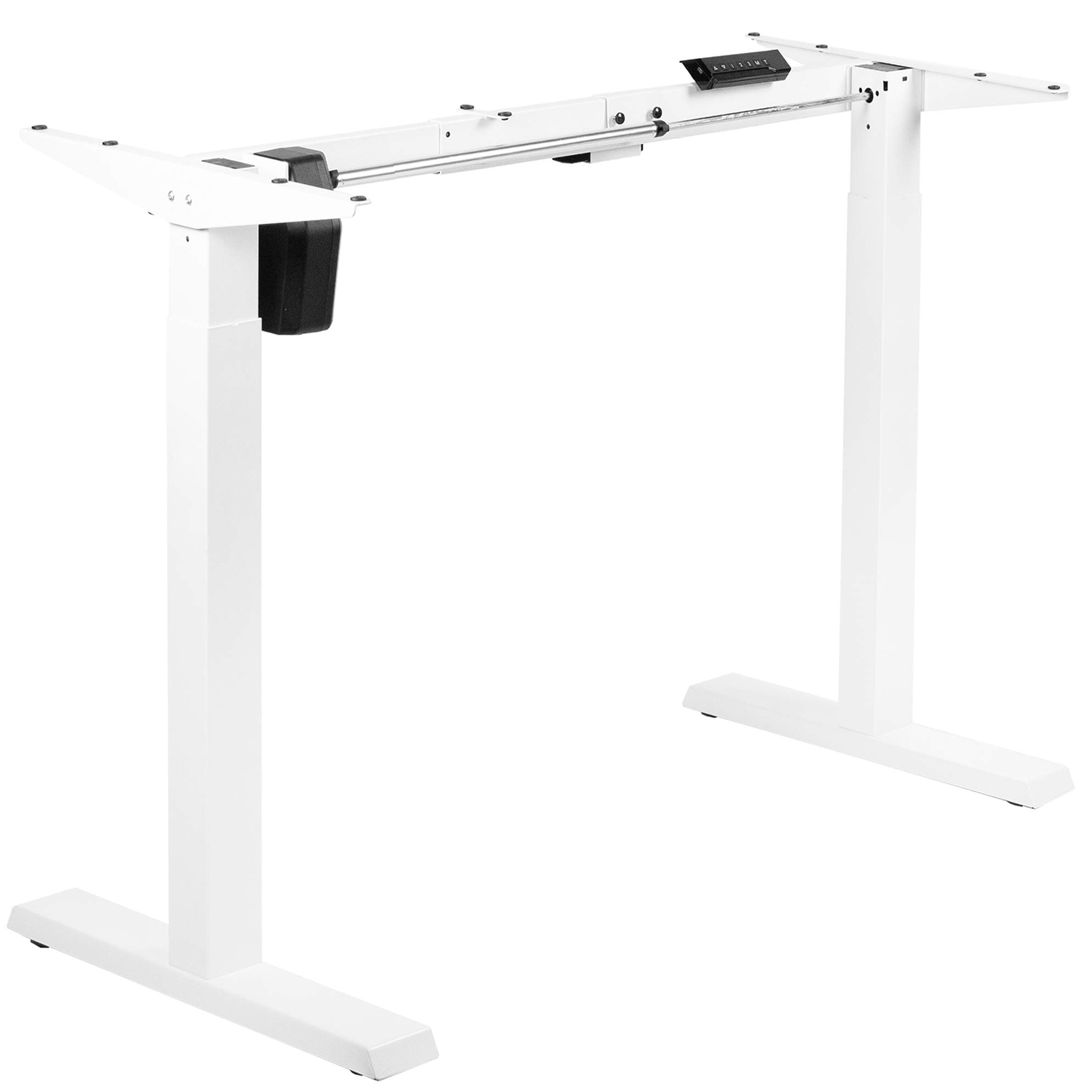 VIVO Compact Electric Stand Up Desk Frame for 34 to 71 inch Table Tops, Single Motor Ergonomic Standing Height Adjustable Base with Controller, White (DESK-E151EW)