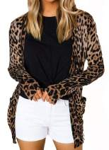 Minclouse Women's Leopard Print Long Sleeve Button Front Open Front Loose Cardigans with Pocket