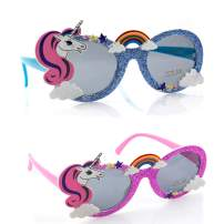 Toysery Unicorn Party Sunglasses for Girls, Unicorn Shaped Kids Sunglasses, Rainbow Sunglasses Eye Wear Accessories for Birthday, Graduation, Summer Beach Pool Party Favors Toys - (Blue/Pink 2 pack)