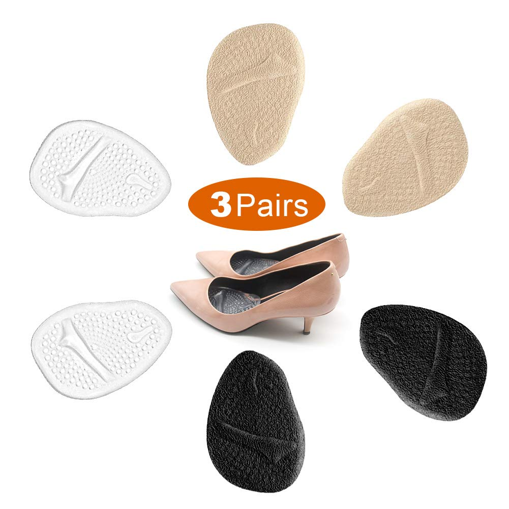 3 Pairs Metatarsal Pads for Women, Professional Reusable Silicone Ball of Foot Cushions, All Day Pain Relief and Comfort, One Size Fits Shoe Inserts