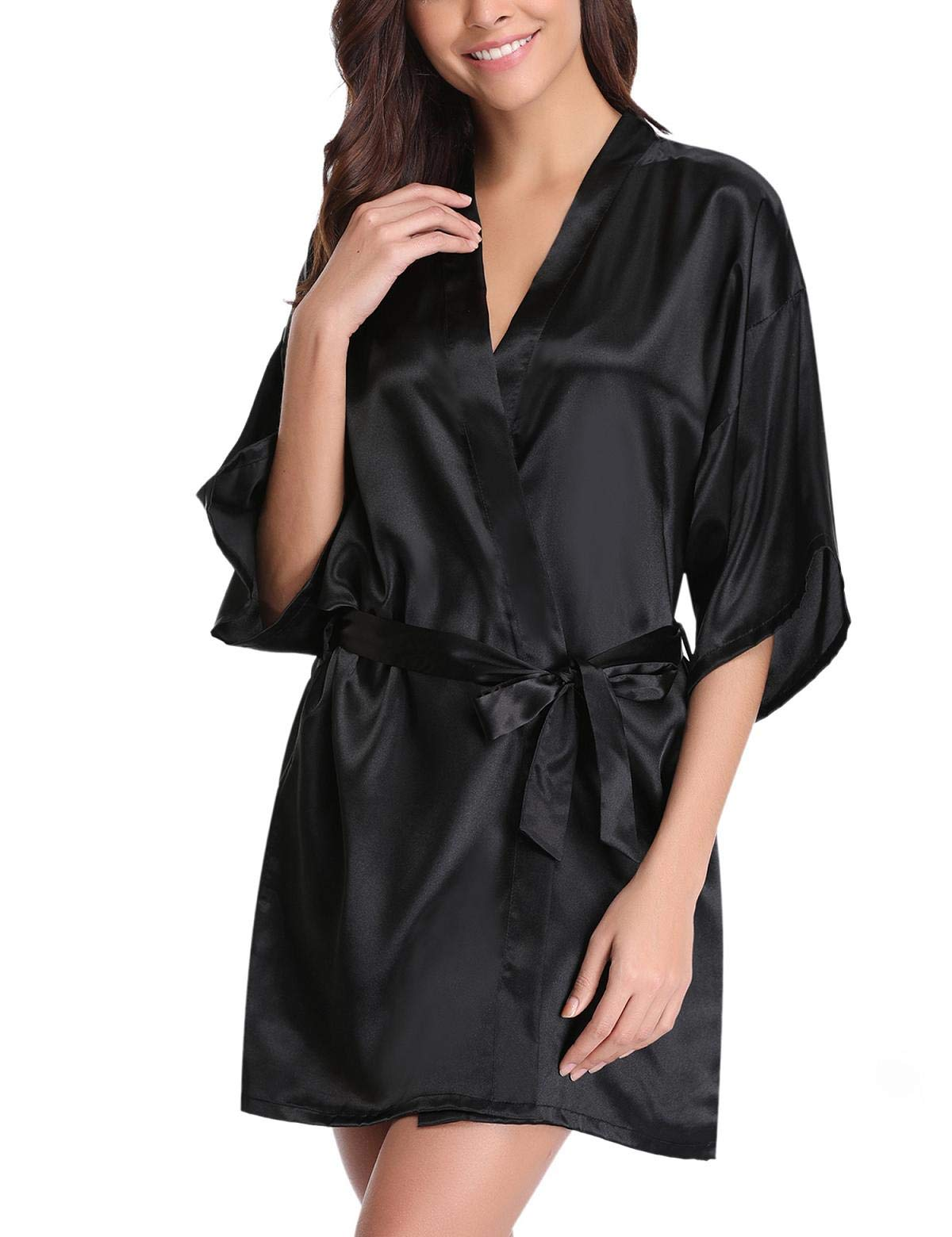 Abollria Women's Satin Kimono Robes Short Silky Bathrobe Party Robes Dressing Gown Sleepwear