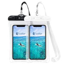 F-color Waterproof Phone Pouch, Universal Waterproof Phone Case PVC Dry Bag for Swimming Boating Skiing Rafting, Compatible with iPhone Xs Max XR 8 7 6S Plus Galaxy S8 7 Up to 6.7 inch, Black,Beige