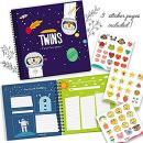 Twins First 5 Years Memory Book with Stickers, Astronaut Edition - Baby 1st Year Milestone Photo Album - Perfect Gift for Newborns - Hard Cover Journal - Babies Personalized Keepsake Scrapbook Diary