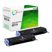 TCT Premium Compatible Toner Cartridge Replacement for HP 501A Q6470A Black Works with HP Color Laserjet 3600 3600N 3600DN Printers (6,000 Pages) - 2 Pack