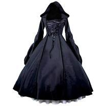 Partiss Women's Gothic Victorian Poplin Long Sleeve Hooded Halloween Lolita Witch Dress