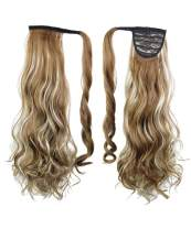 """Rhyme 20"""" Mix Color Ponytail Wrap Around Hair Extensions Natural Long Curly Wavy Wig Drawstring Tie Up Hair piece For Women"""