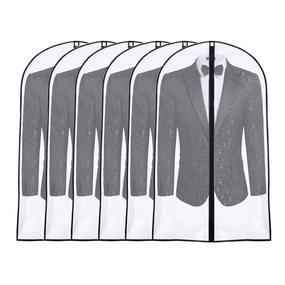 UOUEHRA Hanging Garment Bag 24'' x 40 '' (Pack of 6) Lightweight Suit Bags Dust-Proof Covers with Study Full Zipper for Storage Clothes and Travel