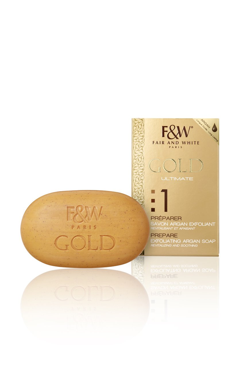 Fair & White 1: Gold Argan Oil Exfoliating Soap, 200g / 7oz