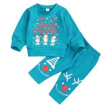 Baby Winter Outfits Newborn Toddler Baby Boy Girl Snowman Elks Cartoon Printed Tops T-Shirt+Pants 2pc Clothes Set