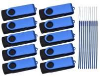 4GB USB 2.0 Flash Drive Bulk 10 Pack 4 GB Thumb Drives Kepmem Jump Drive Swivel Memory Stick 4 Giga USB Drive Blue Jump Drive Metal Zip Drive with Lanyard for Storage Business Office Gift