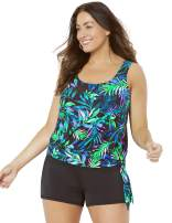 SWIMSUITSFORALL Swimsuits for All Women's Plus Size Side Tie Blouson Tankini Set with Banded Short