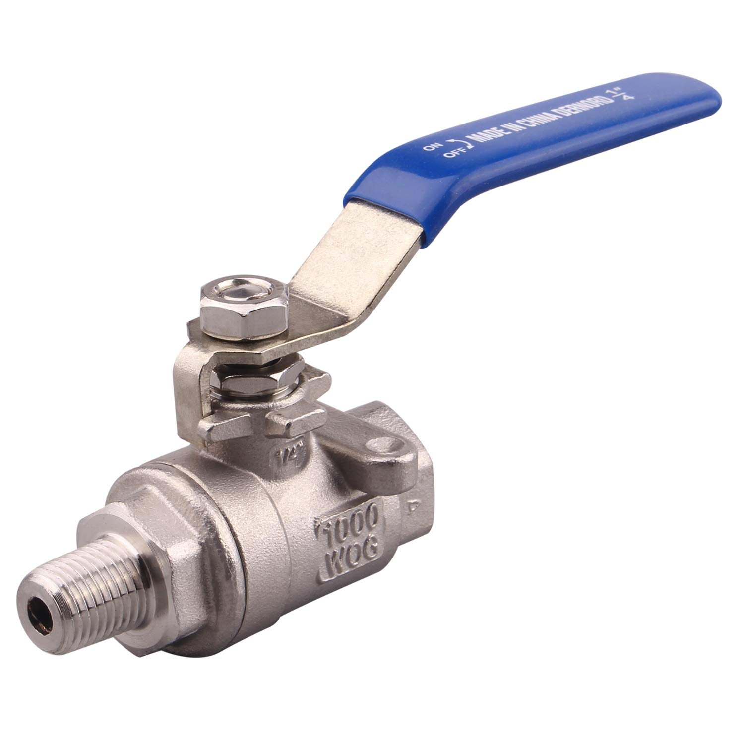 DERNORD Full Port Ball Valve 1/4 Inch - Male x Female Stainless Steel 304 Heavy Duty for Water, Oil, and Gas,1000WOG (1/4 Inch NPT)