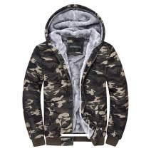Dreamskull Camouflage Coats Fleece Hoodie Casual Zip Up Heavyweight Hooded Jacket for Men and Women