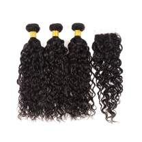 Huarisi Water Wave Peruvian Bundles with Closure and Baby Hair 100% Unprocessed Virgin Human Hair Extensions Natural Wavy Hair Lace Closure 4x4 Free Part Can Be Dyed (20 22 24 + 18 Inches)