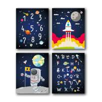 """HPNIUB Outer Space Art Prints Funny Painting, Set of 4 (8""""X10"""" Solar System,Rocket,Stars,Clouds Canvas Poster, Alphabet Numbers Educational Wall Art for Nursery Classroom Kids Toddlers, No Frame"""