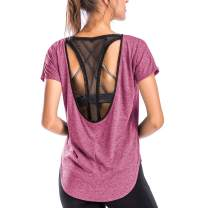 Move With You Workout Tops for Women Loose Fit Summer Tops Mesh Open Back Yoga Sports Athletic Shirts