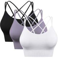 Enjoyoself Womens Yoga Bra Strappy Sports Bra Workout Tank Tops for Fitness Running Athletic Gym