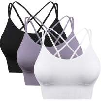 Enjoyoself Womens Yoga Bra Strappy Sports Bra Workout Tank Tops for Fitness Running Athletic Gym