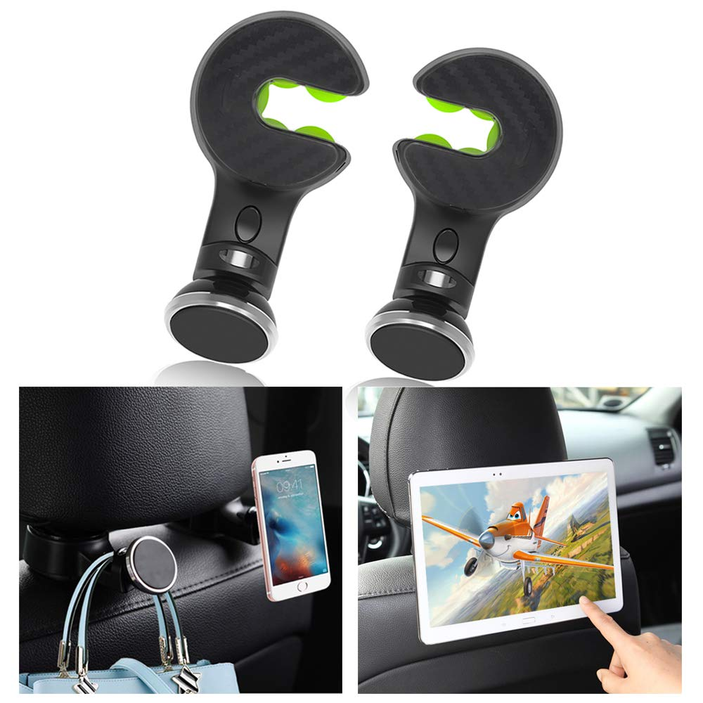 Black Car Hooks ABS Silicone 2 Pack Purse Hook with Phone Holder for car Hold up to 22 lb