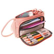 Pencil Pen Case Makeup Cosmetic Bag Suppiles, VersionTECH. Multipurpose Pouch Holder Travel Storage Bags Brush Stationery Toiletry Kit Large Capacity with Zipper for Girls Women School Office (Pink)