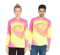 Tie Dye Style Long Sleeve T-Shirt Men Women - Fun, Multi Color Tops