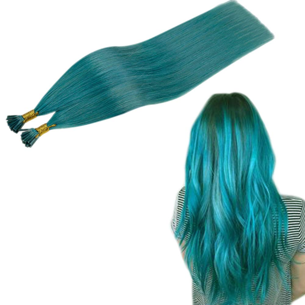 RUNATURE 22 Inches Remy Hair I Tip Extensions Teal Color 25g Per Pack 1g Per Strand Pre Bonded Human Hair Keratin Hair Extensions Cold Fusion Hair Extensions Stick Tip Brazilian Remy Hair