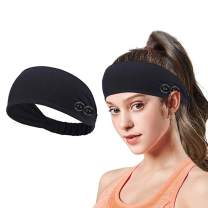 Yoga Sports Headband with Button Anti-Strap, Stretch Wide Hair Bandana to Protect Ears for Women/Men and Everyone, Shower Workout Elastic Sport Sweatband (black)