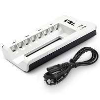 EBL Smart 8 Bay AA AAA Battery Charger for NiMH NiCD Rechargeable Batteries Build-in 2 USB Fast Charging Ports