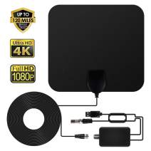 ANEAR TV Antenna - HDTV Antenna Indoor Support 4K 1080P, 60-120 Miles Range Digital Antenna, VHF UHF Freeview Channels Antenna with Amplifier Signal Booster, 16.5 Ft Longer Coaxial Cable, Black