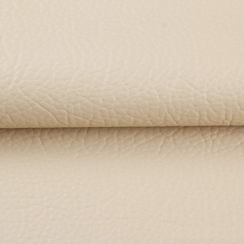 ANMINY Vinyl Faux Leather Fabric Cotton Back for Hand Crafts DIY Tooling Sewing Hobby Workshop Crafting Wallet Making Square 1.5 Yards Long 54 Inches Wide 0.03 Inches Thick (Ivory, 1.5 Yards)