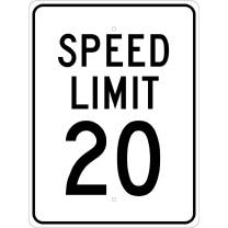 "NMC TM20J Traffic Sign, Legend ""SPEED LIMIT 20"", 18"" Length x 24"" Height, Engineer Grade Prismatic Reflective Aluminum 0.080, Black On White"